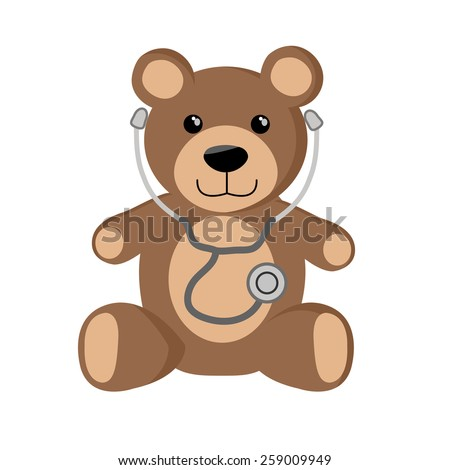 cute teddy bear with stethoscope