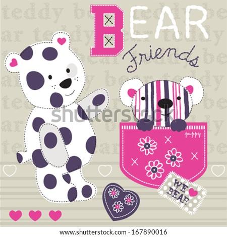 cute teddy bears vector illustration - stock vector