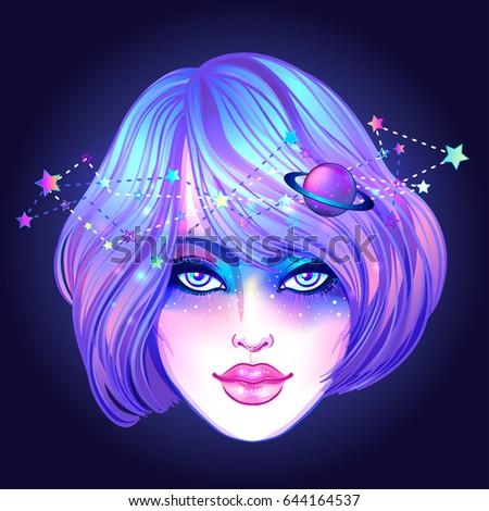cute teen girl with galaxy make