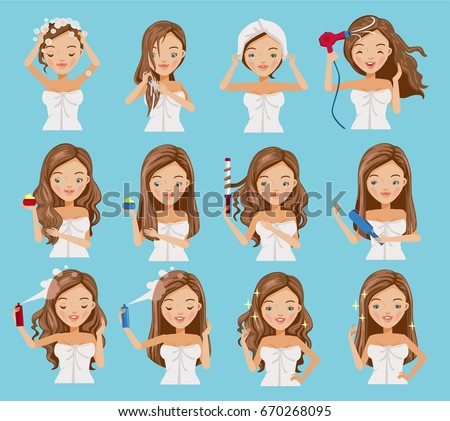cute teenage girl is washing her hair, nourishing, caring and shaping her hair.Cartoon set of hair treatment procedure.Vector illustrations isolated on a blue background.