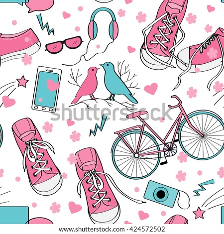 Cute teenager girls pattern with sneakers, birds couple, bike, camera, mobile telephone, headphones, hearts, and flowers. Pink and blue palette. Teenage girl world background