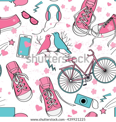 cute teenager girls pattern