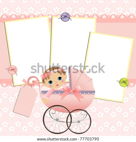 Cute template for baby's arrival announcement card or photo frame (EPS10)