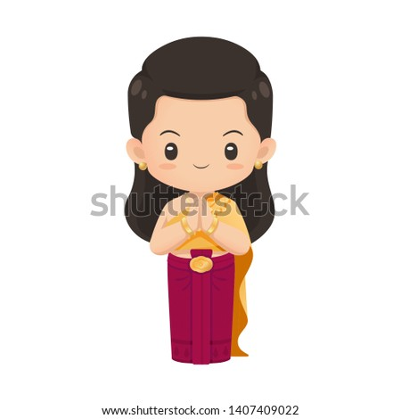 Cute thai woman character in traditional noble costume in respecting action use for illustration