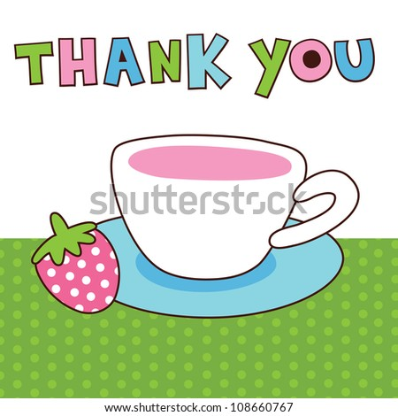 Cute Thank You Card Vector