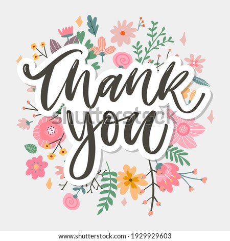 Cute Thank You Script Card Flowers Letter text