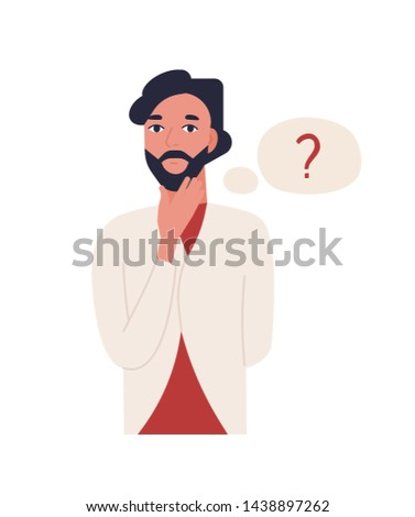 Cute thoughtful bearded man isolated on white background. Funny pensive guy and thought balloon with question mark. Male office worker solving problem. Flat cartoon colorful vector illustration. Stock foto ©