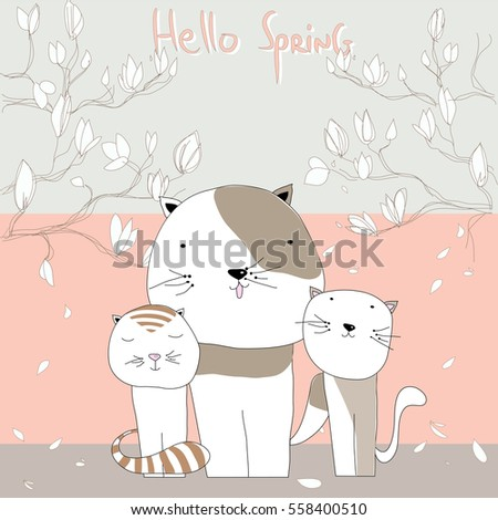 cute three cats with message