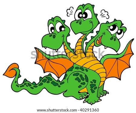 Cute three headed dragon - vector illustration.