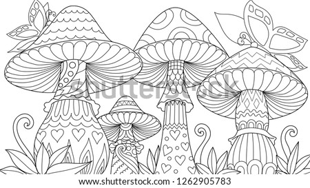 cute three mushroom in spring