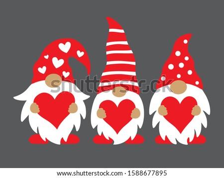 Cute three valentine gnomes holding hearts vector illustration.