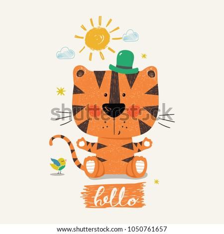 cute tiger boycartoon hand