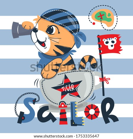 Cute tiger boy playing sailor looking through spyglass on blue and white striped background illustration vector.