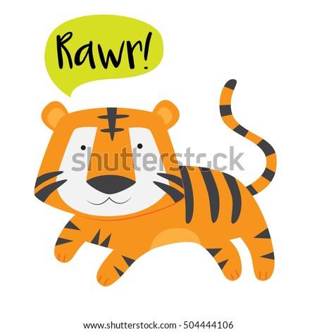 cute tiger roaring vector stock