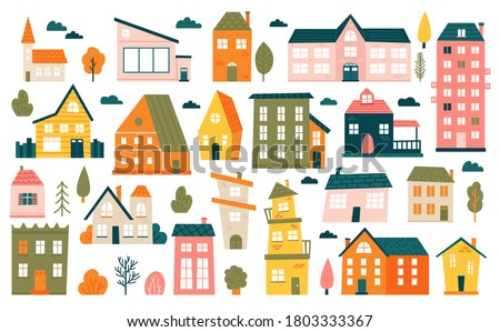 Cute tiny houses. Cartoon small town houses, minimalism city buildings, minimal suburban residential house vector illustration icons set. House small multicolour, structure town residential exterior
