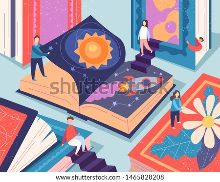 Cute tiny people reading different books, giant textbooks. Concept of book world, readers at library, literature lovers or fans. Colorful vector illustration in flat cartoon style Foto stock ©