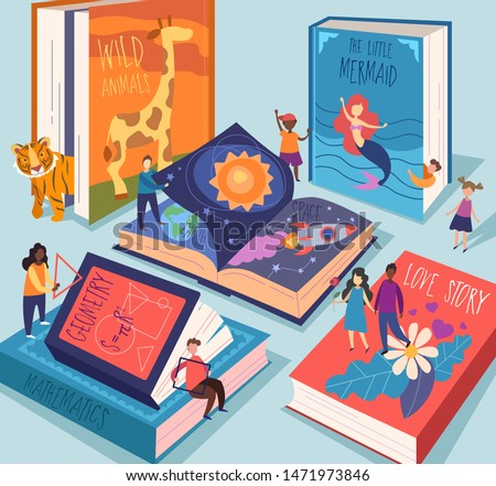 Cute tiny people reading different giant books and textbooks. Concept of book world, readers at library, literature lovers or fans. Colorful vector illustration in flat cartoon style