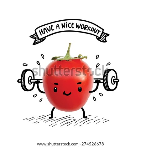 cute tomato lifts heavy weight