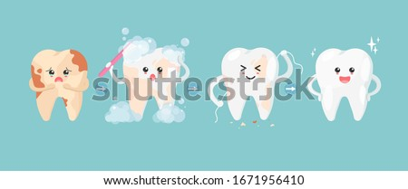 Cute tooth characters in flat style. Step of cleaning teeth stains. from unhealthy teeth to healthy teeth. Illustration for children. dental and dentistry concept.