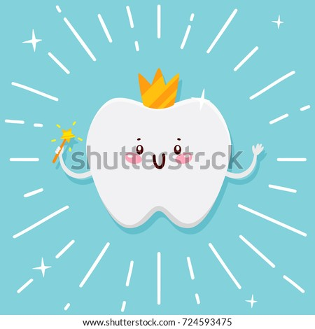 cute tooth  flying fairy with
