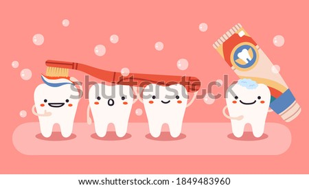 Cute tooth hygiene. Smiling, happy teeth mascots with toothbrush and toothpaste, oral dental healthcare isolated vector illustration. Dentistry, cleaning teeth, cheerful healthy characters