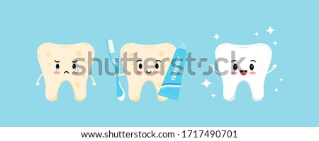 Cute tooth with yellow plaque becomes white and healthy tooth with help of toothpaste, toothbrush. Flat design cartoon kawaii emoji character vector illustration. Teeth cleaning and whitening concept.
