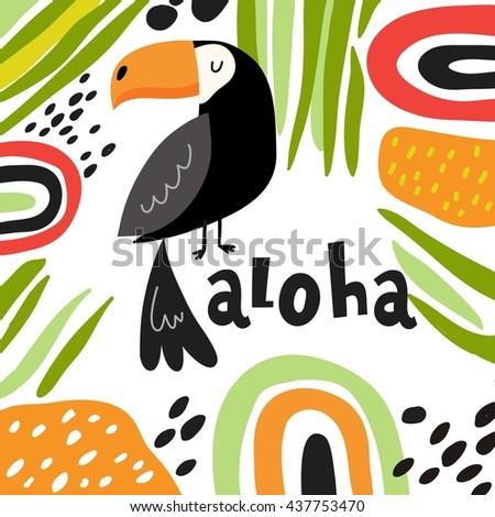cute toucan vector card