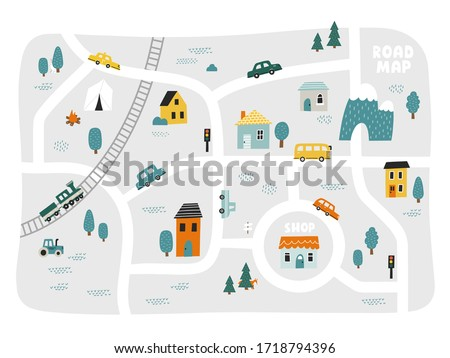 Cute town map for kid's room. Hand drawn vector illustration. Nursery concept for bedding, poster.