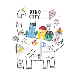 Cute town on the back of a huge dinosaur. Hot air balloon flight over the city. Baby design.