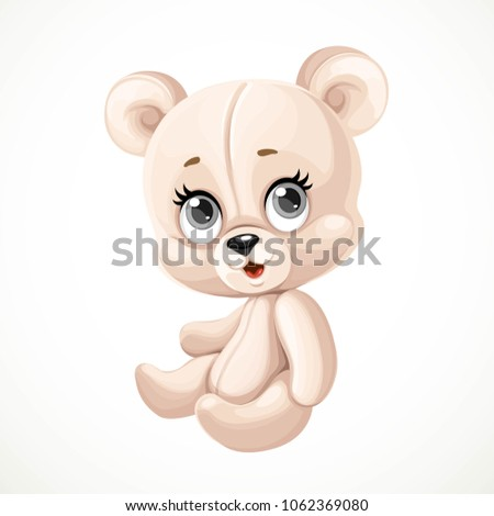 Cute toy teddy bear sit on white background