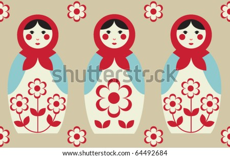 Cute traditional seamless background with matryoshkas