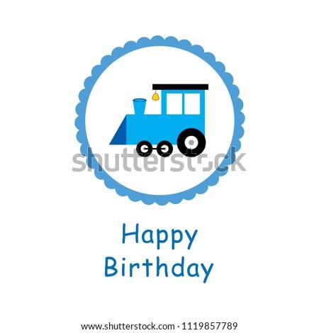 cute train cartoon happy birthday greeting card vector. cute train birthday card.