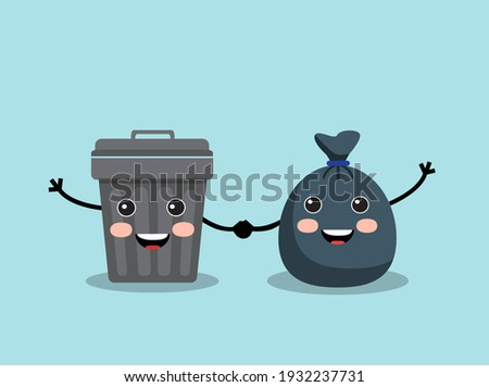 cute trash bag and iron trash can stand cheerful and hold hands
