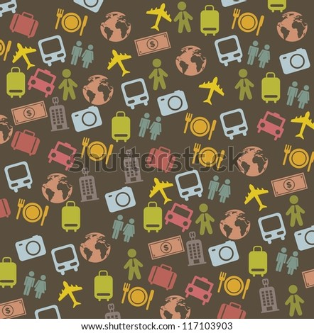 cute travel business icons over brown background. vector illustration