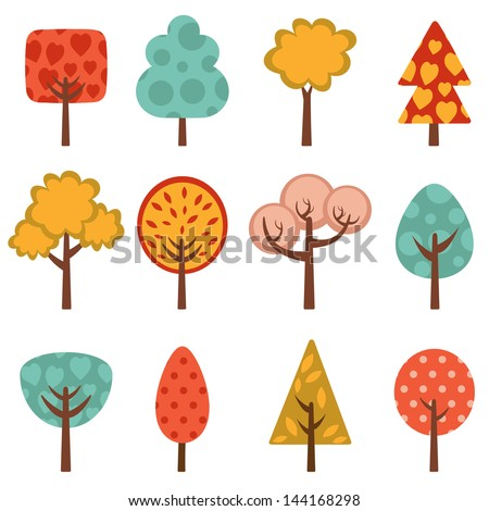 cute trees collection vector