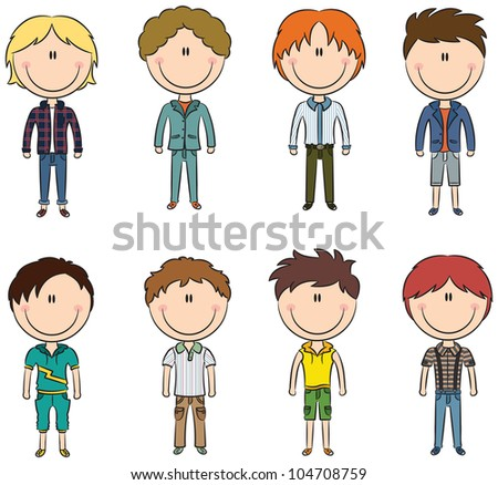 Cute trendy boys isolated on white background - stock vector