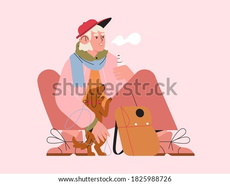 Cute trendy young woman walking a puppy and smoking electronic cigarette. Female character sitting with knapsack and vaping e-cigarette. Smoke-free cigarette concept. Bad Habit, Hipster Lifestyle.