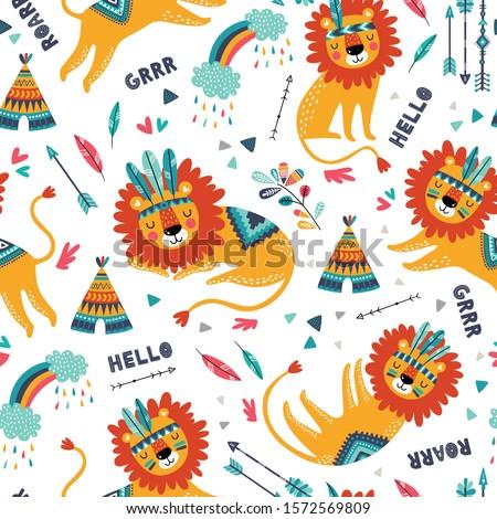 cute tribal lions seamless