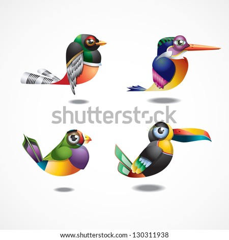 Cute tropical birds