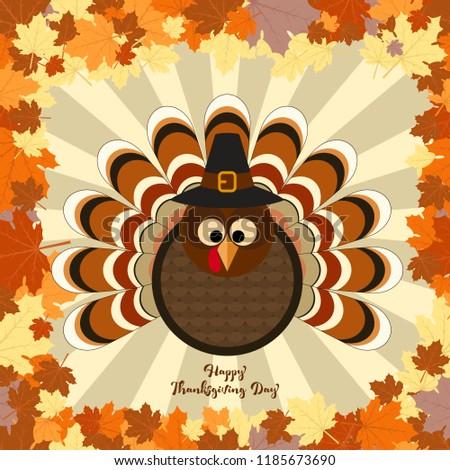 Cute turkey in Thanksgiving present card. Vector Illustration