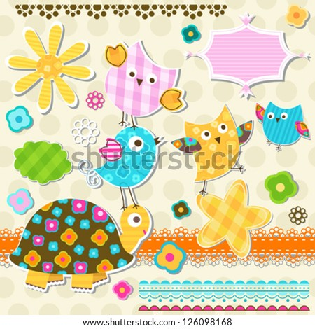 cute turtle and birds scrapbook elements