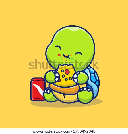cute turtle eating pizza with
