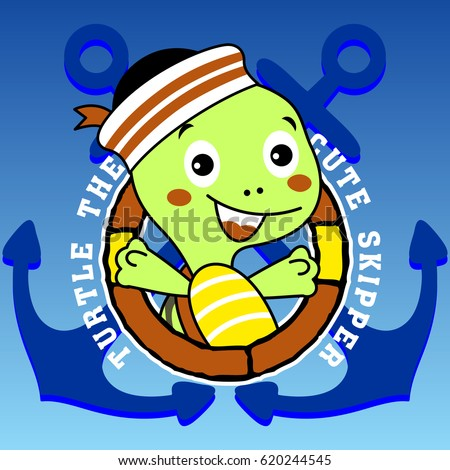 cute turtle the sailor  vector