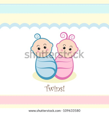 Cute twin baby boy and girl design.