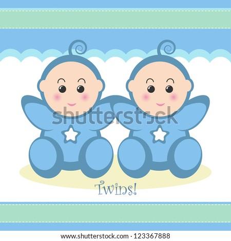 Cute twin baby boys card design.