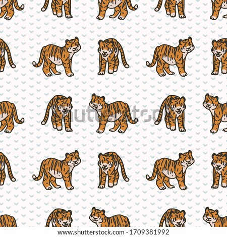 cute two tiger seamless vector