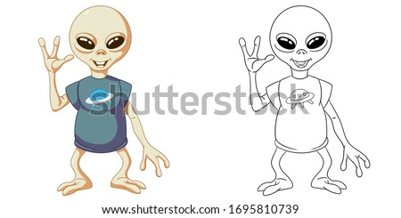 Cute ufo alien. Coloring page and colorful clipart character. Cartoon design for t shirt print, icon, logo, label, patch or sticker. Vector illustration. ストックフォト ©