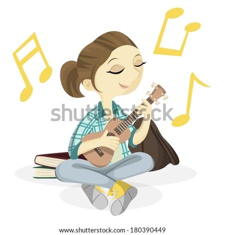 cute ukulele girl