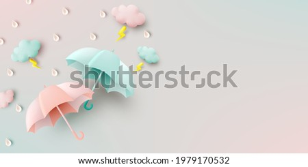 Cute umbrella for monsoon season with pastel color scheme and paper art style vector illustration Foto stock ©