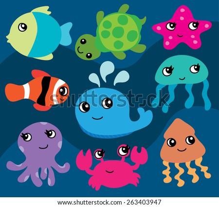sea animal cartoon vectors download free vector art stock